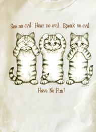 NO EVIL CAT T-SHIRT NATURAL