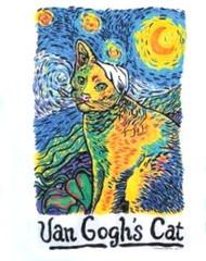 VAN GOGHS CAT NIGHTSHIRT WHITE ONE SIZE