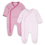 JoJo Maman Bébé Striped 2PK Sleepsuit (Girls)