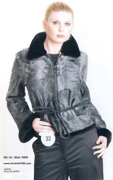 Grey Russian Broadtail Jacket, Black Mink Collar and Cuffs