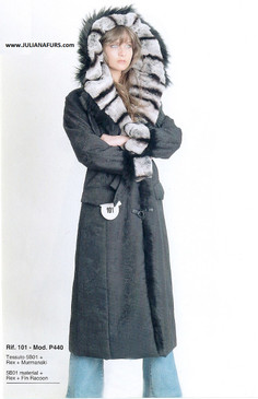 Dyed Rex and Fin Raccoon Fur Trimmed Coat