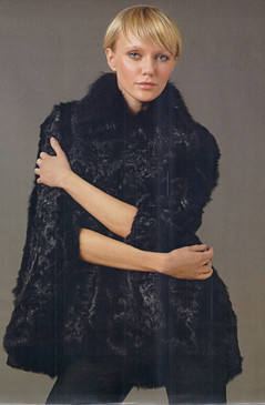Black Persian Lamb Sections Cape, Fox Collar