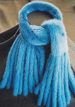 Mink Dyed Blue Scarf with Mink Fringes