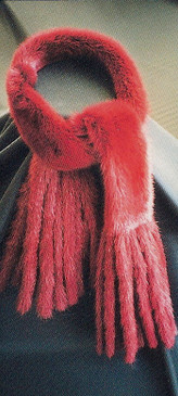 Mink Dyed Red Scarf with Mink Fringes