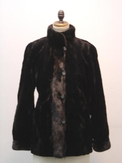 Black Dyed Sheared Mink Sections Jacket, Long Hair Mink Trim, Reverse to Taffeta