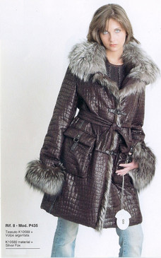 Dark Purple Fabric Coat with Silver Fox Trim