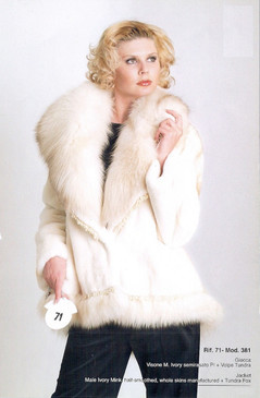 Male Ivory Mink Semi Sheared Full Skin Jacket with Ivory White Fox