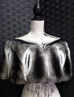 Chinchilla Capelet, Black Suede, Crystal Trim