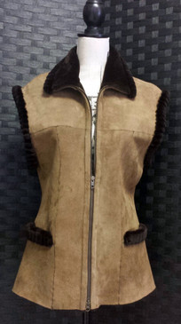 Medium Brown Shearling Vest Sheared Beaver Trim