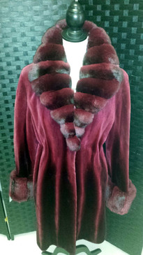 Burgundy transition dyed shared mink 3/4 jacket with chinchilla trim