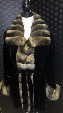 Black dyed sheared mink jacket with gold dyed chinchilla trim