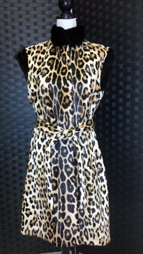 Leopard print kidskin vest with belt and long hair mink trim