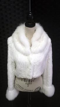 White knit rex rabbit jacket with knit Shadow fox trim