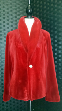 Red dyed sheared mink jacket with long hair mink collar