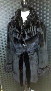 Black dyed sheared mink 3/4 length jacket, sheared mink / feathers fringe trim