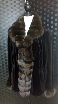 Dark brown dyed sheared mink jacket with dyed chinchilla trim