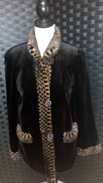 Brown dyed sheared mink jacket with mahog/glo mink trim reversible to Taffeta