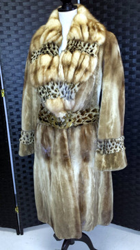 Sheared golden mink coat, trimmed with sable and lipi