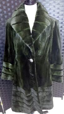 Dark green sheared mink coat