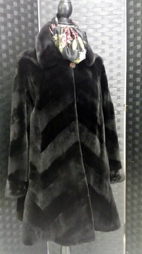 Dark brown sheared mink, diagonal pattern, bell sleeves