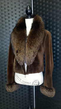 Sugar brown dyed sheared mink jacket with dyed indigo Fox trim