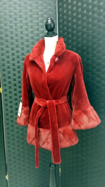 Dark red dyed sheared mink jacket with long hair mink trim and belt