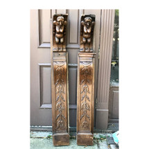 A17070 - Pair of Late Victorian Oak Mythical Figural Carvings