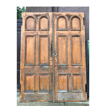 "D17151 - Pair of Antique Victorian Pine Six Panel Church Doors 69-1/2"" x 95-1/4"""