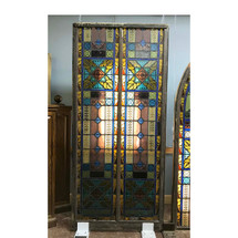 G17072 - Antique Ecclesiastical Painted and Fired Stained Glass Window