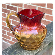 A17108 - Antique Victorian Color-Phased Coin Spot Amberina Glass Pitcher