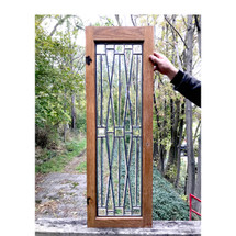 G17080 - Antique Arts & Crafts Beveled Glass Cabinet Door