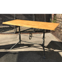 F17132 - Custom Industrial Adjustable-Height Butcher Block Table