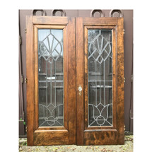 "D17177 - Pair of Antique Doors with Beveled Glass 59-3/4"" x 78-3/4"""