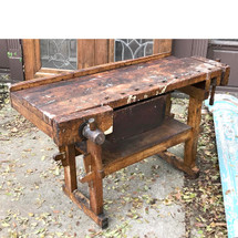 F17135 - Antique Maple Industrial Wood Worker's Bench