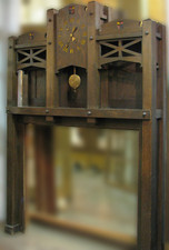 M10003 - Antique Mission Style Clock-Faced Full Mantel