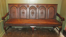 Extraordinarily rare Transitional oak bench displaying Jacobean, William and Mary, and Queen Anne elements.