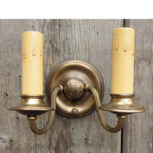 L16084 - Antique Georgian Revival Double Candle Arm Wall Sconce