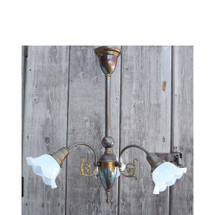 606305 - Antique Late Victorian Three Arm Ceiling Light Fixture