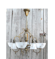 607244 - Antique Neoclassical Eight Arm Ceiling Light Fixture