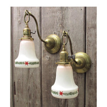 607509 - Pair of Antique Victorian Wall Sconces with Milk Glass Shades