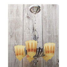 608048 - Antique Art Deco Ceiling Light Fixture with Slipper Shades