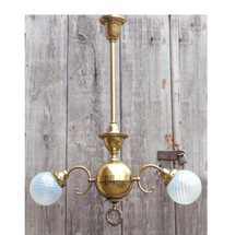 608278 - Antique Neoclassical Two Arm Ceiling Light Fixture