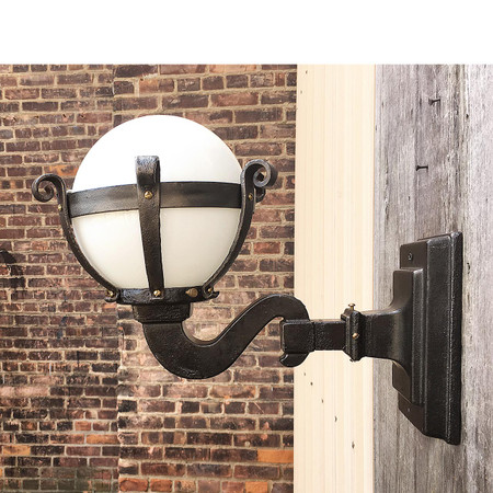 Antique Exterior Wall Sconce with Milk Glass Globe