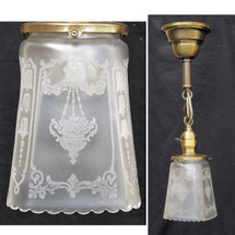 609777 - Antique Colonial Revival Ceiling Light Fixture with Etched Shade