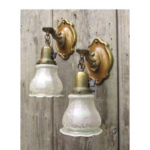 609782 - Pair of Antique Colonial Revival Wall Sconces with Etched Shades
