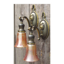 609838 - Pair of Antique Tudor Revival Wall Sconces with Carnival Glass Shades