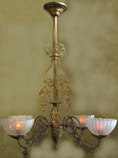 Antique light fixture with double acid etched gas shades, restored