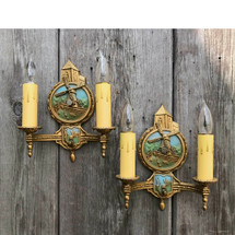 610238 - Pair of Antique Dutch Colonial Revival Wall Sconces with Windmills