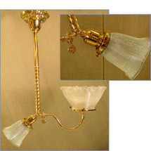 """L11020 - Antique """"Gas and Electric"""" Ceiling Light Fixture with Holophane Shades"""