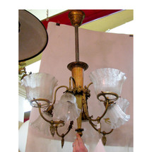 "L11398 - Antique Neoclassical Eight Arm ""Gas and Electric"" Ceiling Light Fixture"